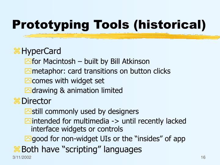 Prototyping Tools (historical)