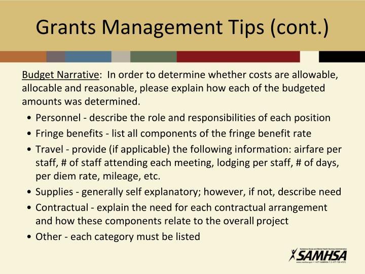 Grants Management Tips (cont.)