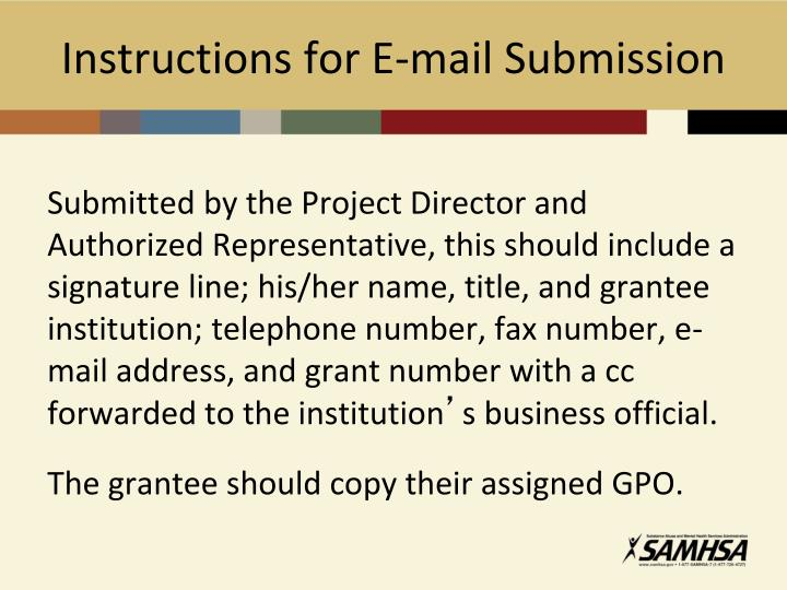 Instructions for E-mail Submission
