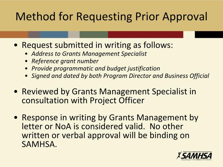 Method for Requesting Prior Approval