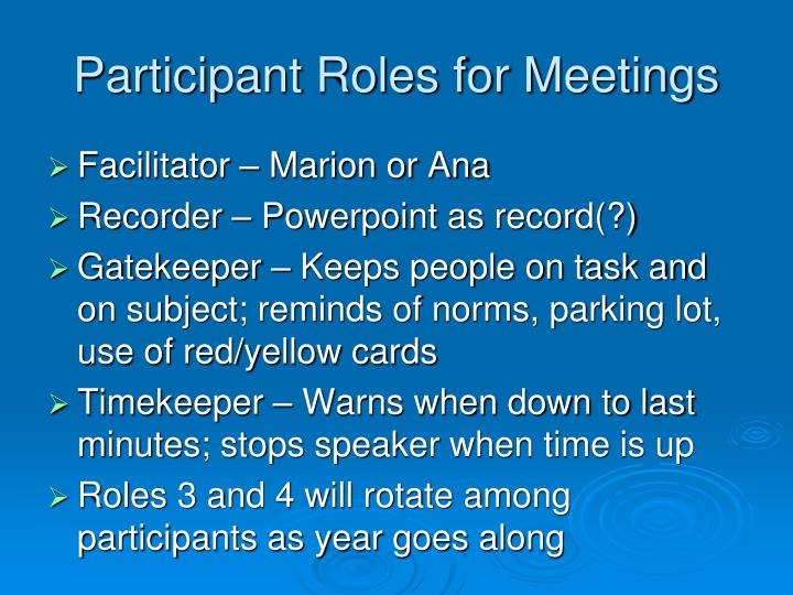 Participant Roles for Meetings