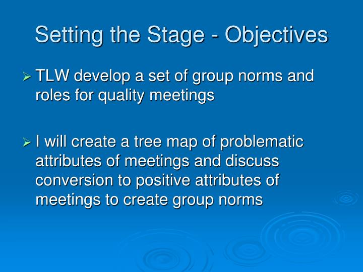 Setting the stage objectives