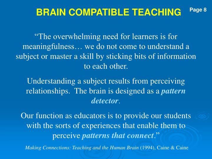 BRAIN COMPATIBLE TEACHING