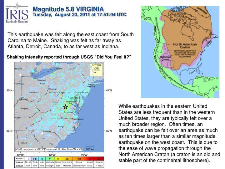 Magnitude 5.8 VIRGINIA