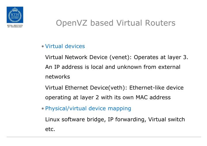 OpenVZ based Virtual Routers