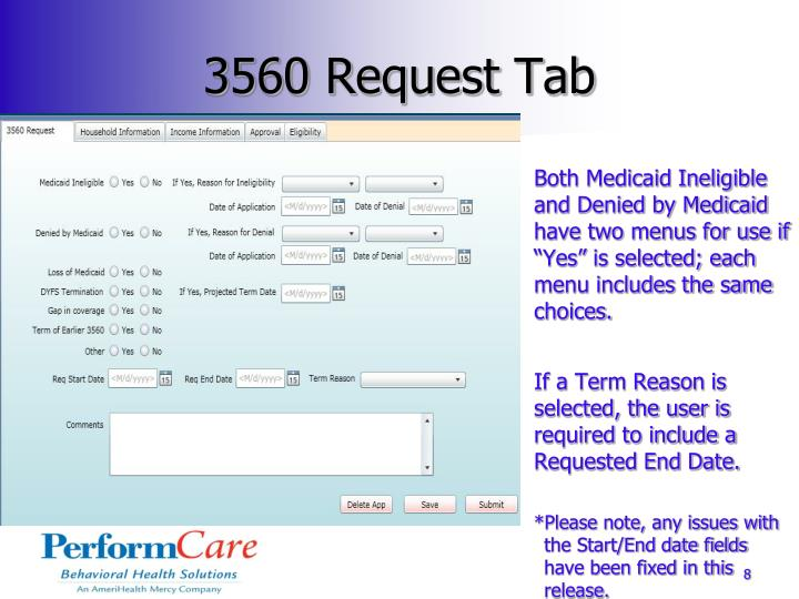 3560 Request Tab