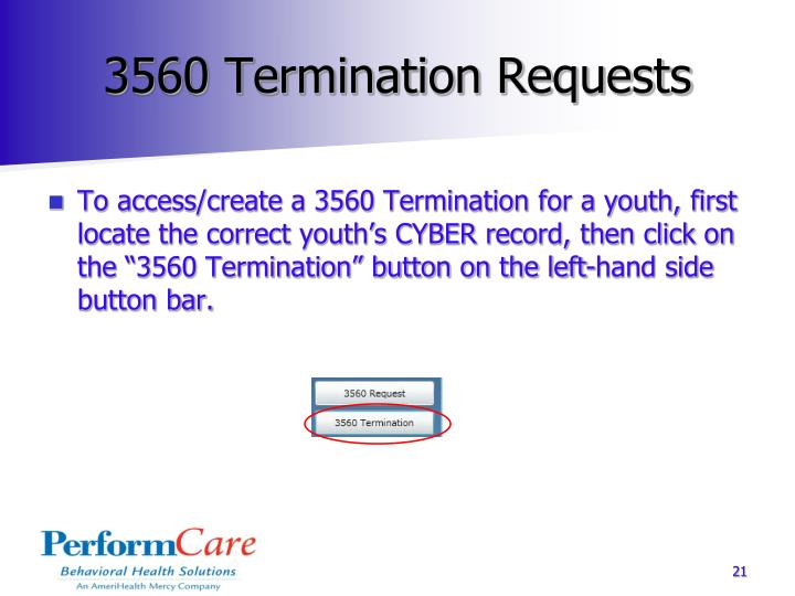 3560 Termination Requests