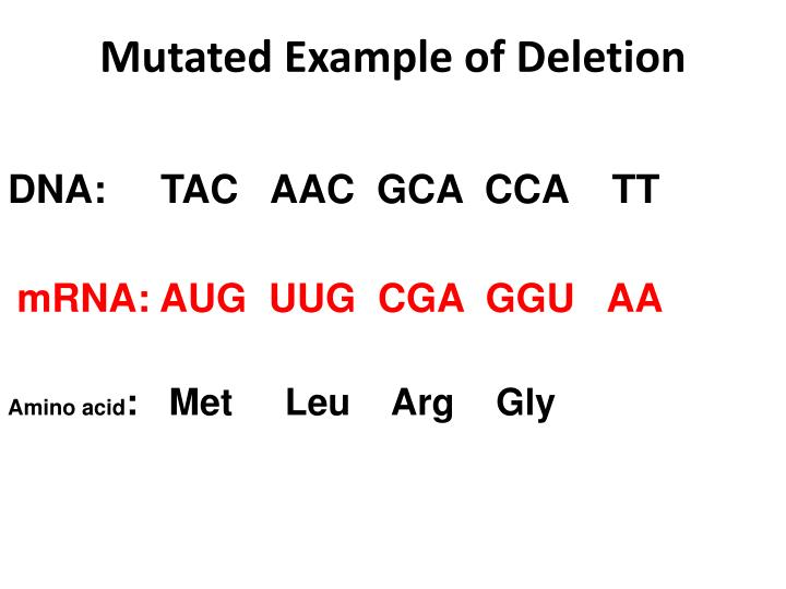 Mutated Example of Deletion