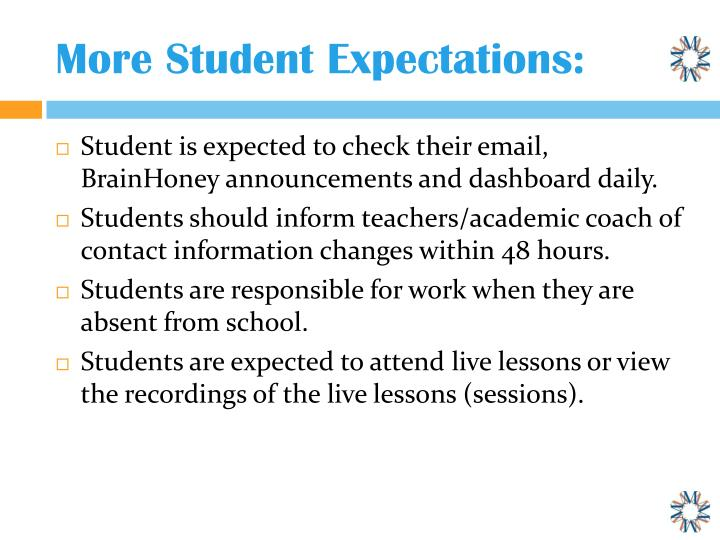 More Student Expectations: