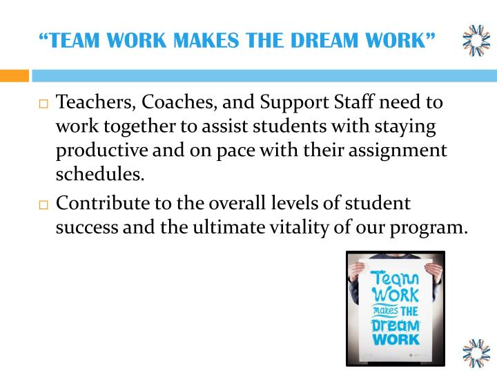 """TEAM WORK MAKES THE DREAM WORK"""
