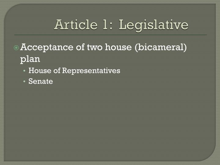 Article 1 legislative