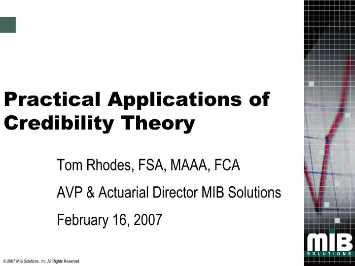 practical applications of credibility theory n.