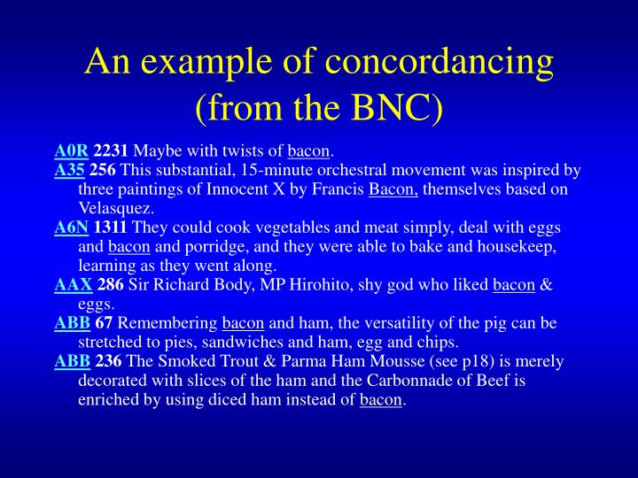 An example of concordancing from the bnc