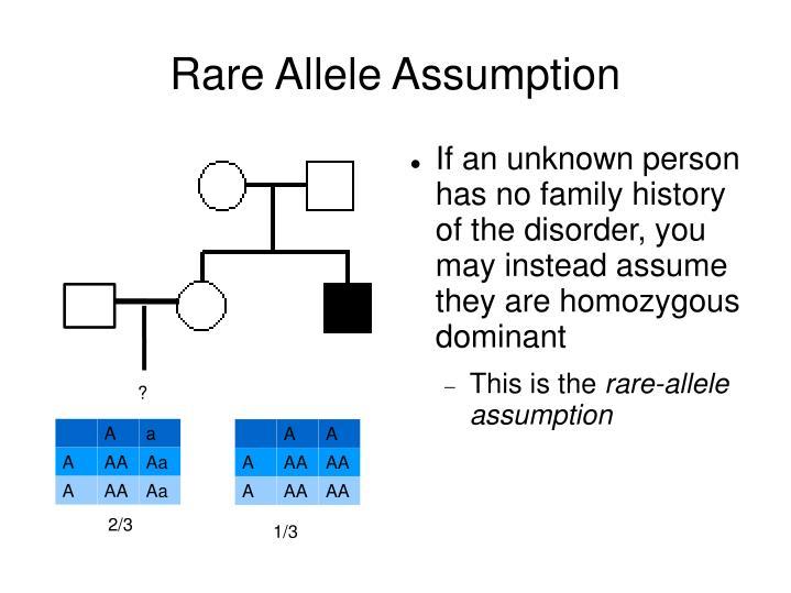 Rare Allele Assumption