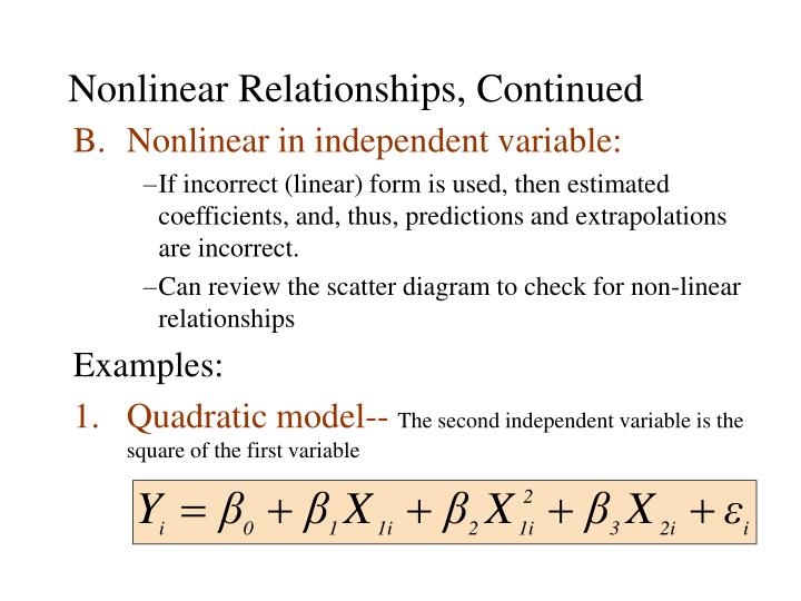 Nonlinear relationships continued