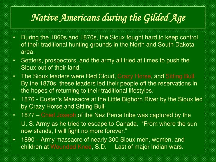 Native Americans during the Gilded Age
