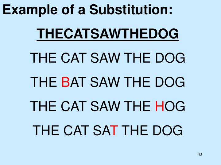 Example of a Substitution: