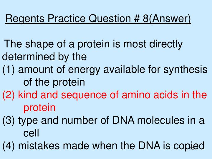 Regents Practice Question # 8(Answer)