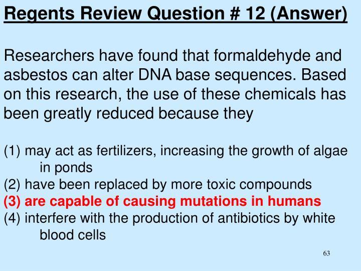 Regents Review Question # 12 (Answer)