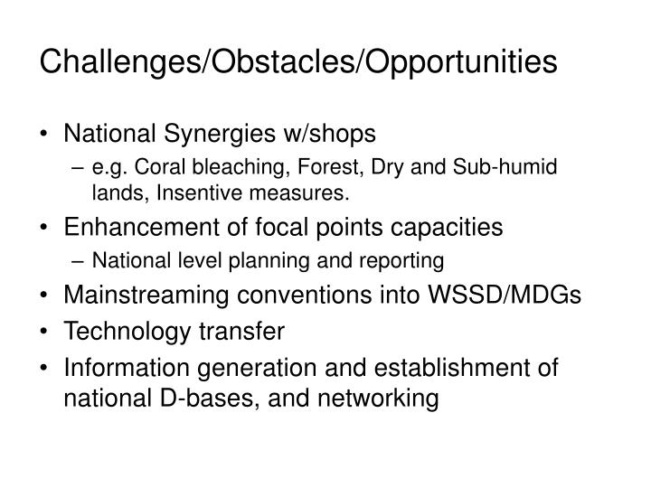 Challenges/Obstacles/Opportunities