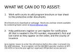 what we can do to assist
