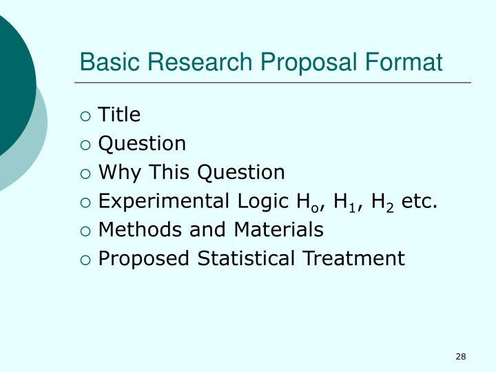 Basic Research Proposal Format
