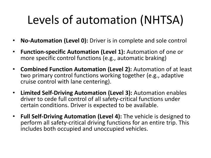 Levels of automation nhtsa