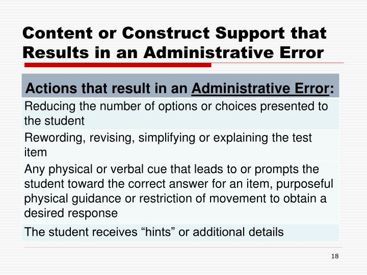 Content or Construct Support that Results in an Administrative Error