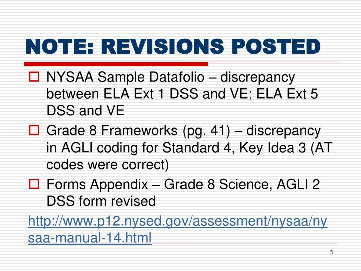 Note revisions posted