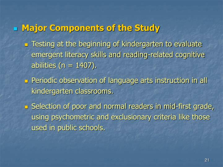 Major Components of the Study