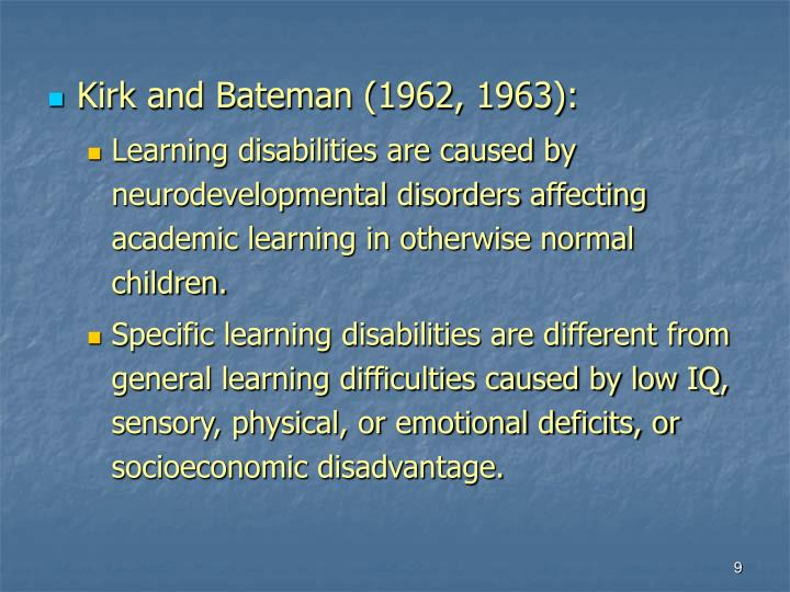 Kirk and Bateman (1962, 1963):