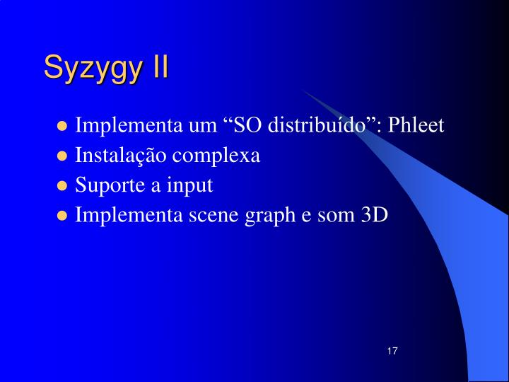 Syzygy II