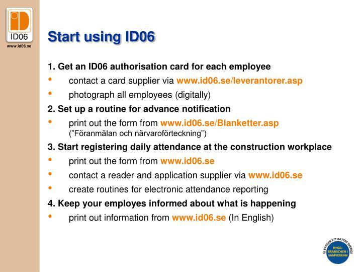 Start using ID06