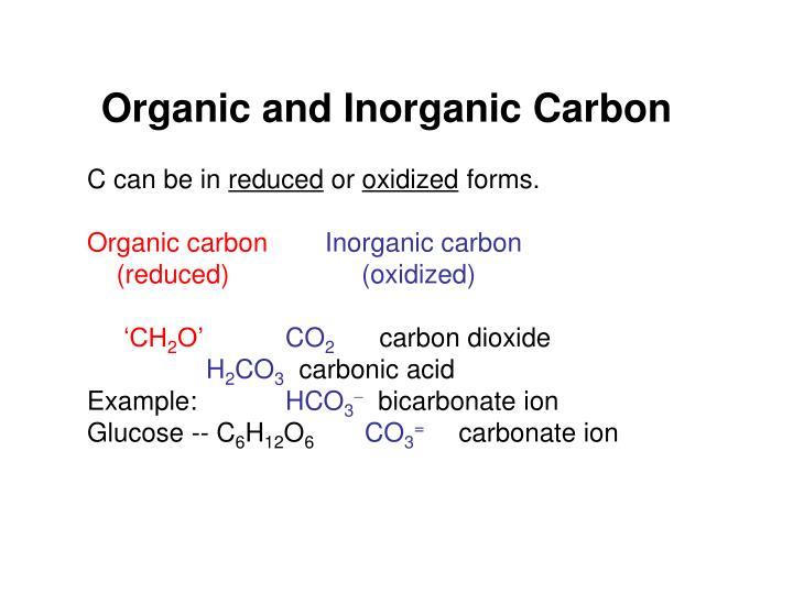 Organic and Inorganic Carbon