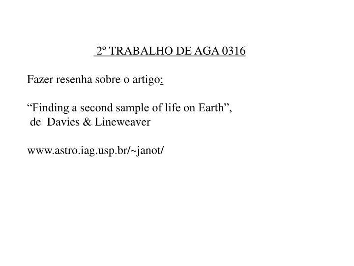 2º TRABALHO DE AGA 0316