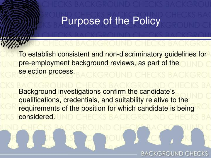 Purpose of the Policy