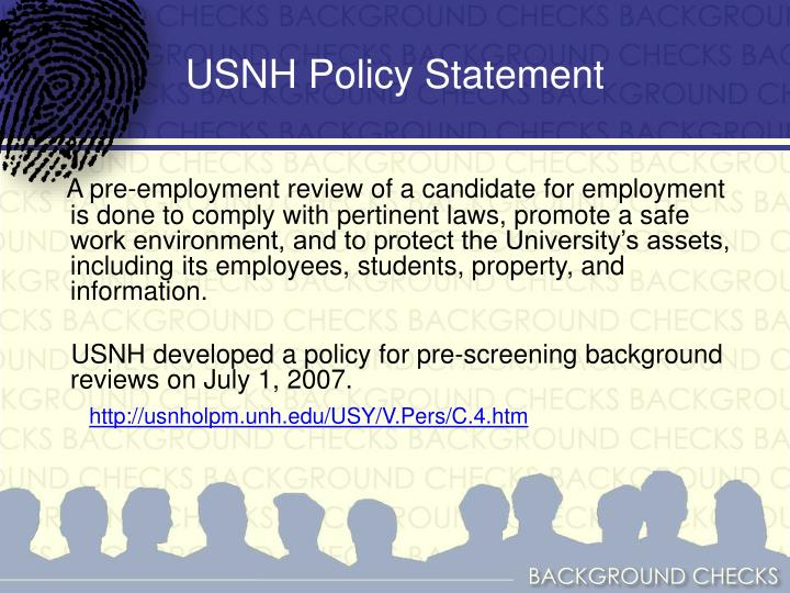 USNH Policy Statement
