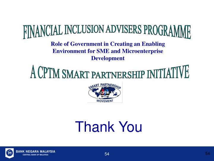 FINANCIAL INCLUSION ADVISERS PROGRAMME