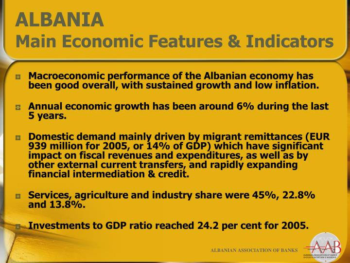 Albania main economic features indicators