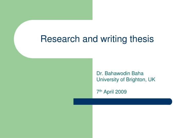 thesis writing research design
