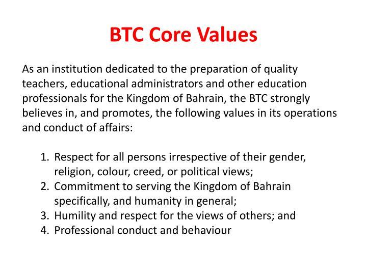 Btc core values