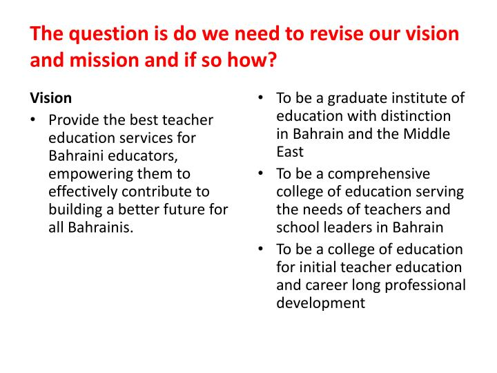 The question is do we need to revise our vision and mission and if so how?