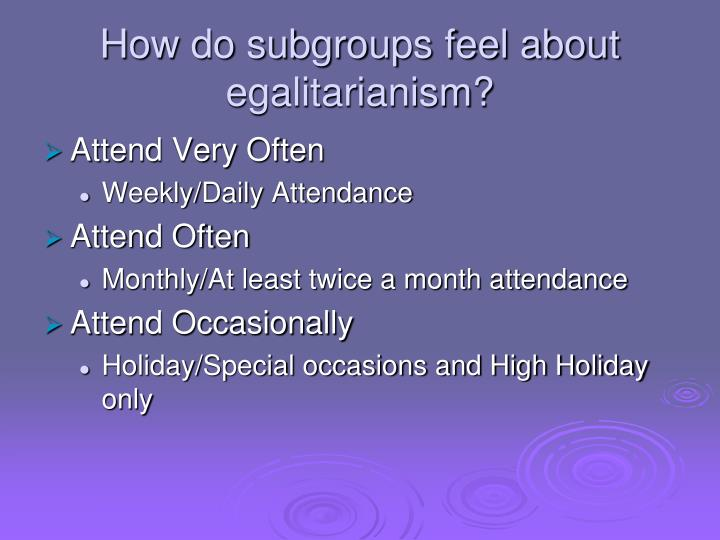 How do subgroups feel about egalitarianism?