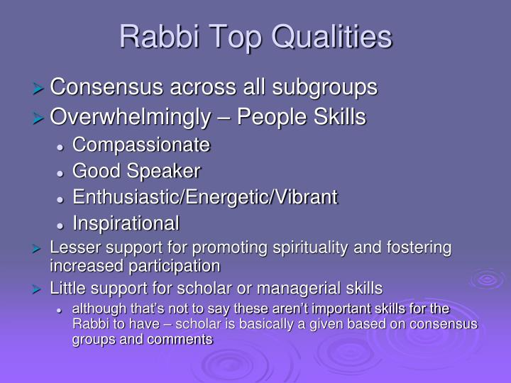 Rabbi Top Qualities