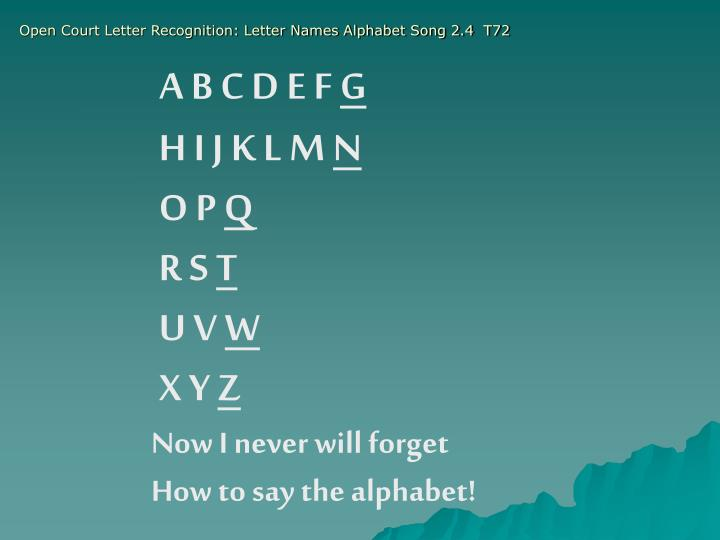 Open Court Letter Recognition: Letter Names Alphabet Song 2.4  T72