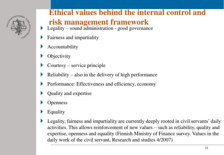 Ethical values behind the internal control and risk management framework