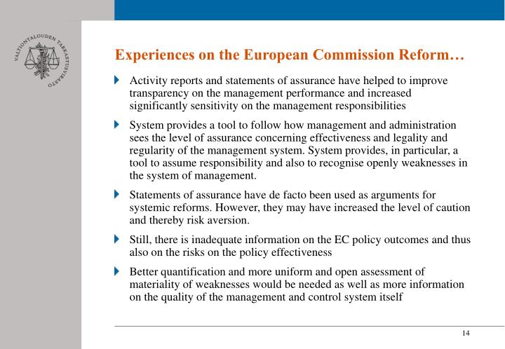 Experiences on the European Commission Reform…