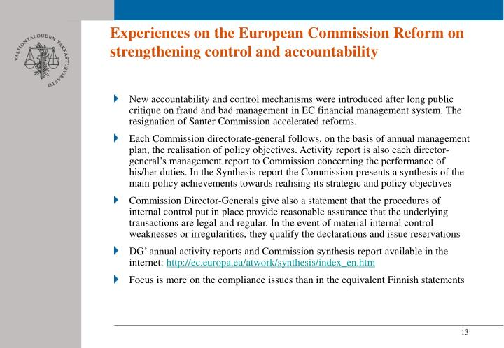 Experiences on the European Commission Reform on strengthening control and accountability