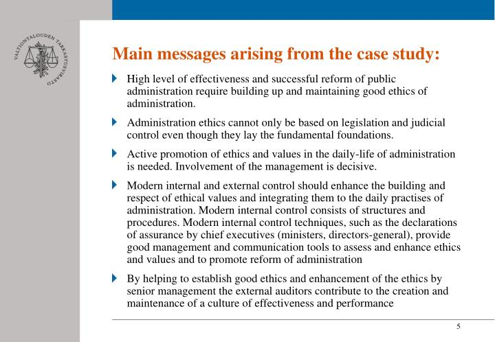 Main messages arising from the case study: