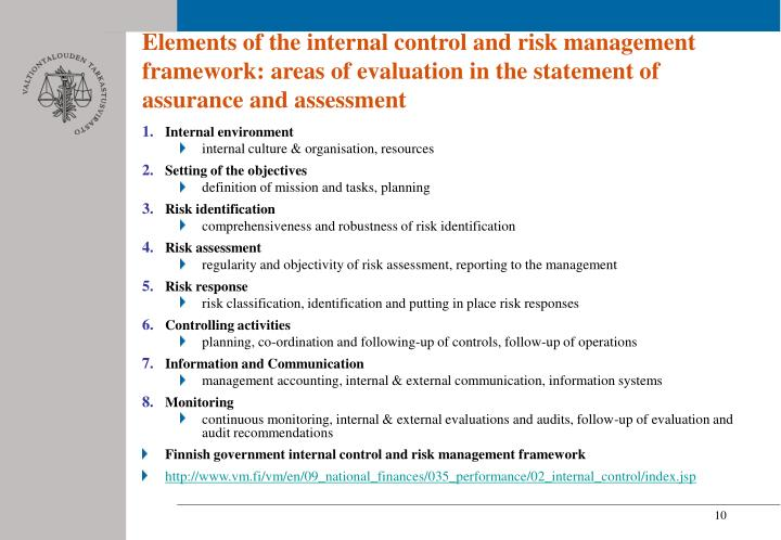 Elements of the internal control and risk management framework: areas of evaluation in the statement of assurance and assessment